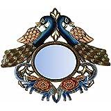 "D'Dass™ Peacock 18"" Decorative Wall Mirror / Wall Decorative/Mirror For Wall / Hanging Mirror / Painted Mirror / Small Mirror By D'Dass/Wall Mirror For Living Room/Bathroom Mirror/Mirror For Gift/Christmas & New Year Festival"