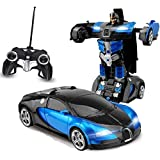 E - Royal Shop Robot to Car Converting Transformer Light and Sound Toy for Kids with Remote Controller (Red and Blue)
