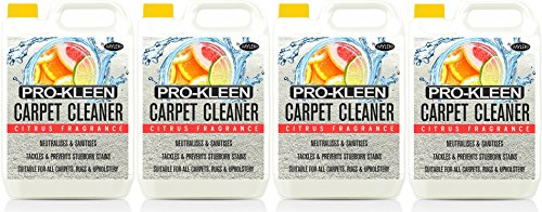 Pro-Kleen Professional Carpet & Upholstery Shampoo – Citrus Fragrance - High Concentrate Cleaning Solution - Suitable For All Machines - 4 x 5 Litres