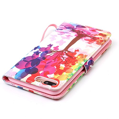 Custodia per iPhone 5, iPhone 5S, iPhone SE Custodia, con protezione per lo schermo in vetro temperato] antigraffio, fatcatparadise (TM) Custodia posteriore morbida in silicone, di alta qualità Colorf Rainbow Tree