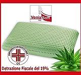 Cuscino VENIXSOFT.Terapeutico in LINFA DI ALOE VERA dall'effetto rilassante e riposante. MEMORY FOAM TRASPIRANTE-DISPOSITIVO MEDICO CLASSE I-Fodera cotone sfoderabile. MADE IN ITALY mis72x42x13,8