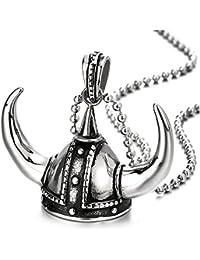 COOLSTEELANDBEYOND Acero Inoxidable Casco Vikingo Colgante, Collar con Colgante de Hombre Muchachos Niños, con