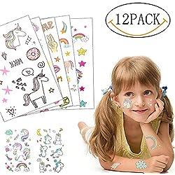 Yansion Tatuajes de Dibujos Animados Unicornios Temporales Tatuajes Seguros para Niños, Impermeables y Extraíbles 12 Hojas