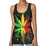 Marihuana Leaf Rasta Farben Dripping Womens Print Grafik Tanktops lässig ärmelloses T-Shirt M