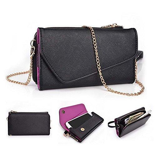 Kroo d'embrayage portefeuille avec dragonne et sangle bandoulière pour Blu Vivo Air/Life Play Multicolore - Green and Pink Multicolore - Black and Violet