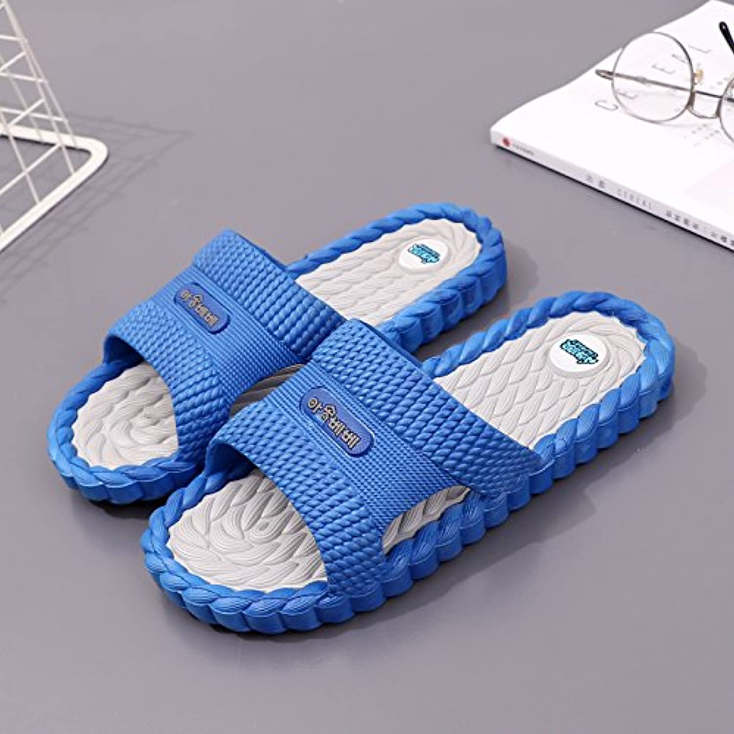 fankou Slippers Male Summer Bathroom Home Interior Bath Massage Soft Anti-Slip Base Men Home Cool Slippers,39,E