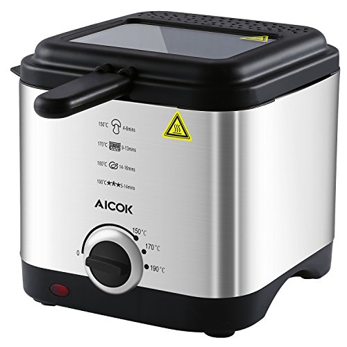 Aicok - Mini Fritteuse | Temperaturkontrolle und Abnehmbarer Deckel | Sichtfenster | Easy Clean | Edelstahl-Korb, 1,5 Liter groß, 900W Test