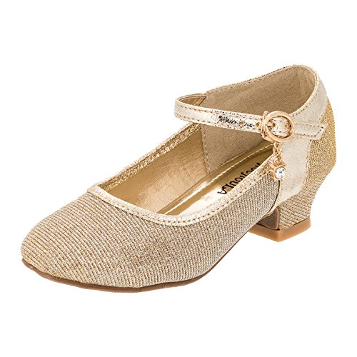 Chochoula Festliche Mädchen Pumps Ballerina Schuhe Absatz Glitzer in Vielen Farben M320go Gold Gr.33