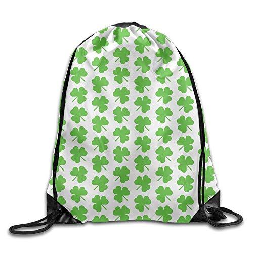 DHNKW Green Shamrocks Drawstring Backpack Rucksack Shoulder Bags Training Gym Sack for Man and Women Notre Dame Shamrock Green