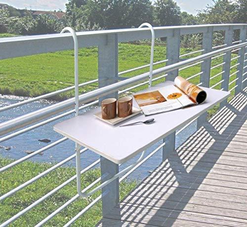 Mesa de balcón, mesa plegable, mesa colgante, 60 x 40 cm, mesa de balcón plegable, mesa de jardín, blanca
