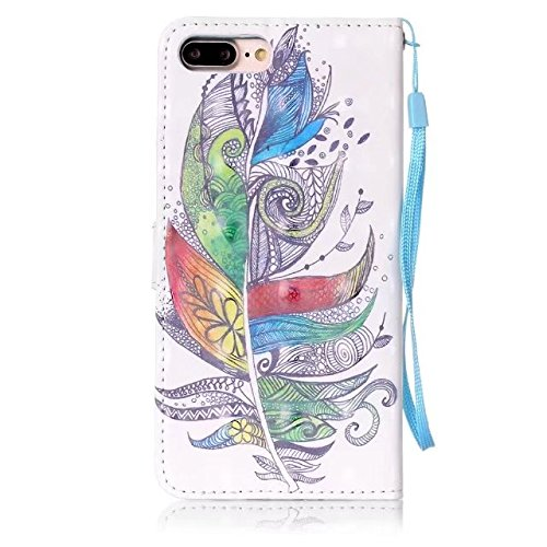 iPhone 7 Plus Hülle, iPhone 8 Plus Hülle, Valenth Leder 3D Multi-Partern Brieftasche Cover [Card Slots] Schutzhülle Cover für iPhone 8 Plus / iPhone 7 Plus 5#