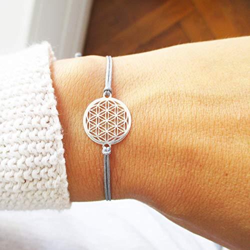 AQUAGEMS Blume des Lebens Armband 925er Sterlingsilber | Lebensblume Damen Schmuck | Grau