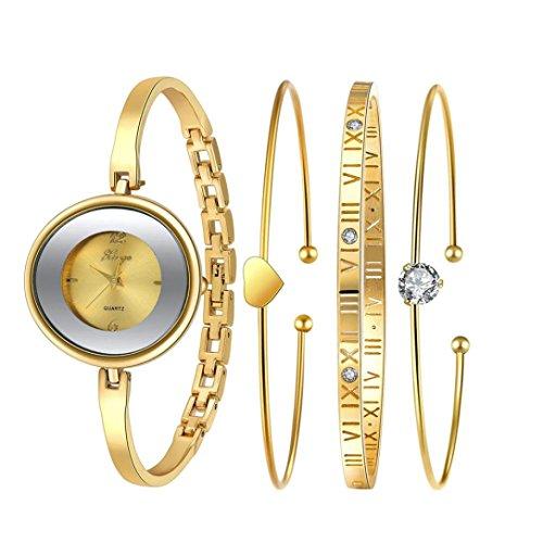 sunward Golden Serie 587Donna Oro strass Bangle Watch e bracciale Set