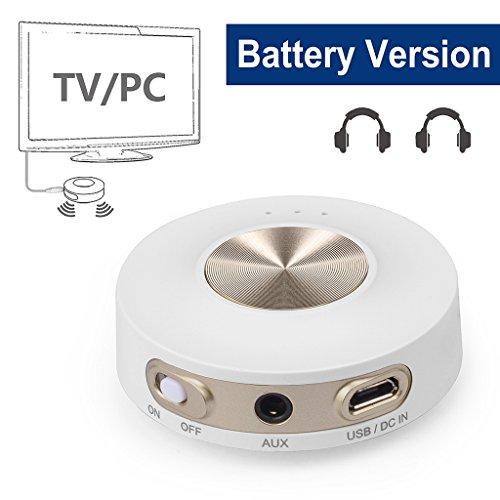 Avantree Portable Bluetooth 4.2 Transmitter, aptX LOW LATENCY für zwei Kopfhörer, Indoor & Outdoor, RCA, 3.5mm Wireless Audio Adapter für TV / PC, KLASSE 1 Rechweite - Priva IIA [24 Monate Garantie] (Eingebaute Mit Dvd-player Weiß-fernseher)