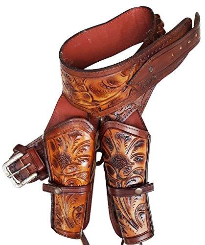Modestone Western Leather Double Pistolengürtel Rig 44/45 Revolver 48 (Rig Gun Holster Western Belt)