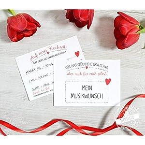 30 DJ Karten Hochzeit Musikwunschkarten, Karten für Musikwünsche Song Lied A7, 10,5 x 7,4cm, Herz