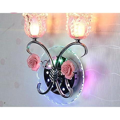 midtawer LED de luces de pared de cristal dormitorio cama apliques de pared apliques de cristal del hotel pasarela creativa ensalada verde luz , rosa bocina)
