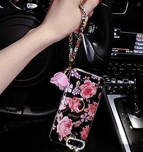 Case iPhone 7 Plus,iPhone 7 Plus Cover,Diamante Bling Glitter Lusso Cristallo Strass Morbida Rubber Full body [Rotazione Grip Ring Kickstand] con Supporto Dellanello Shock-Absorption Bumper e Anti-Sc fiore 02