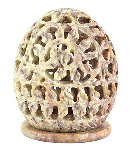 StarZebra Novelty Item - Soapstone Tealight Candle Holder Egg Shaped with Intricate Tendril Openwork and Floral Pattern