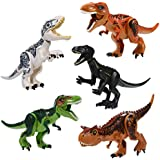 Dinosaur Building Blocks, Leegoal Mini Dinosaur Party Favors Plays Animal Figures Building Blocks Gifts For Kids Boys Girls Toddlers (JH Brown T-Rex)