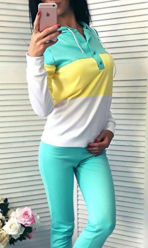 Donna Tuta Da Ginnastica 2 Pezzi Felpa Con Cappuccio+Lungo Pantaloncini Sportiva Colori Misti Eleganti Casual Manica Lunga Autunno Pullover Hoodie+Pantaloni Jogging verdi
