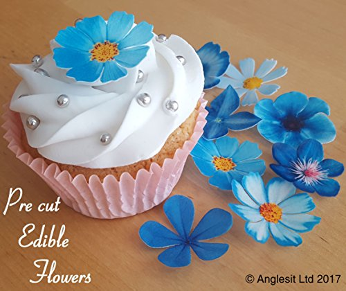 . PRE-CUT BEAUTIFUL BLUE FLOWERS EDIBLE RICE / WAFER PAPER PRE CUT CUPCAKE CAKE DESSERT TOPPERS BIRTHDAY PARTY WEDDING BABY SHOWER DECORATIONS (Flowers)