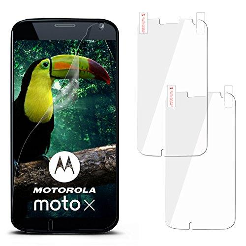 moex 2X Motorola Moto X | Schutzfolie Klar Showing Schutz [Crystal-Cut away] Screen Protector Bildschirm Handy-Folie Dünn Displayschutz-Folie für Motorola Moto X 1. Generation Displayfolie