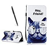 OnlyCase Meizu Pro 6 Plus Hülle Handyhülle Schutzhülle, Flip PU Leder Fall gemaltes Muster Case magnetischen Verschluss Ständer Kartenhalter, Katze