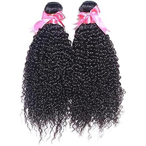 Highdas 100g / Bundle brasiliano capelli umani del Virgin riccio crespo tessuto Colore Naturale 6A grado 100% capelli non trattati 8