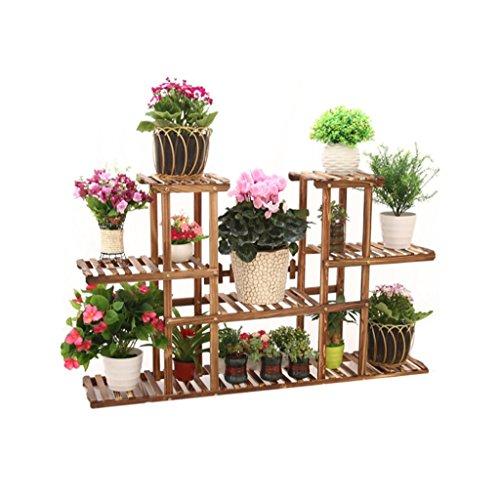 Porte Plante Antisepsis fleur en bois supports multicouches Pots de sol étagères Bonsai terrasse balcon salon intérieur/extérieur vert fleur fleur porte-bouteilles L95 * D25 * H72cm Étagères à fleurs