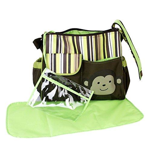 Pixnor carino scimmia stampa Baby capacità grande multi-funzionale pannolino Nappy mutevoli Pad mummia borsetta Tote Bag borsa a tracolla Crossbody Messenger borsa da viaggio (verde)