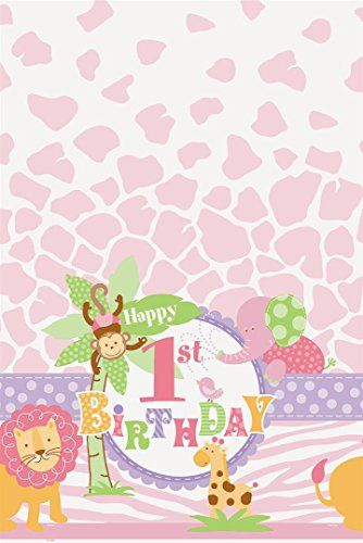 s Kunststoff Rosa Safari 1st Birthday Tischdecke, 7 ft x 4.5 ft (Safari-geburtstags-party-ideen)