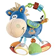 Colorful click clack beads assist hand/eye coordination;Each of clip clop hooves has a different activity;Crinkle feature assists sensory and tactile development;Rattle and bell for auditory stimulation;Vibrant colors and patterns encourage v...