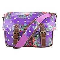 Miss Lulu Oilcloth Owl Skull Floral Polka Dots Cross Body Satchel Shoulder Hand School Bag