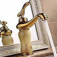 BASCJ ottonerubinetto del bagno,Centerset contemporanea / Modern diffusa con valvola in ceramica monocomando monoforo per Ti-PVD, lavandino rubinetto del