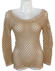 Damen Netz T-Shirt Gogo Top, Clubwear, Langarm