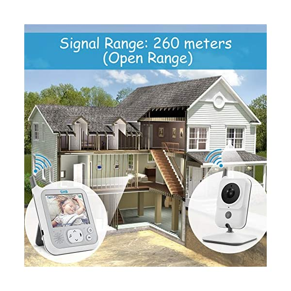 GHB Baby Monitor Video Baby Monitor with Camera 3.2 Inch Handheld Parent Unit Infrared Night Vision Room Temperature Display 2-Way Talk Baby Lullabies GHB Portable Parent Unit - with the wireless 3.2'' display, new parents can monitor their lovely baby clearly in the living room, kitchen or any place in the signal range Infrared Night Vision - you can keep eye on your baby at night in your bedroom and no need to go to the baby room, which avoids waking up your baby VOX Mode (power saving mode) - under VOX mode, if baby camera detects a sound over a certain threshold in the baby room, the video display will turn on automatically, and then will turn off when the baby room is silent to save the battery power 8