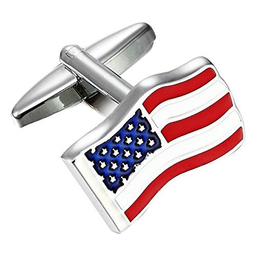 USA Flagge loyale Patriot Edelstahl Herren Manschettenknöpfe (rot, blau, weiß, Silber) (Klassische Texas-flagge)