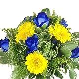 Premium Blumenstrauß blau und gelb - Rosen, Gerbera und mit Grünem dekoriert - Echte Blumen!