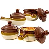 GIBSON Zwiebelsuppe keramikpfeiler Schalen mit Griffe Set of 4, 3-Tone Caramel Ivory