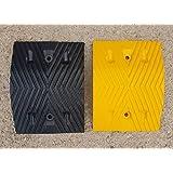 RSB-215MBY-D Route Ralentisseurs, noir et jaune Moyen Pièces 25x35x5cm avec des ancres en béton