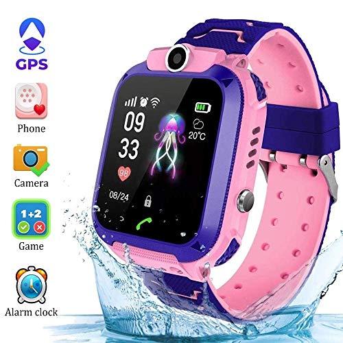 Kinder Smartwatch für Kinder mit Telefonfunktion, SIM, Wasserdicht, Handy Touchscreen, kinderuhr Spiel, Kamera Voice Chat Telefon SOS vtech GPS smart Watch GPS smartwatch Kinder Uhr Kinder (Pink)