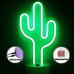 XIYUNTE Cactus Lámparas neón de mesa - LED Cactus Neon Luces de la noche con pedestal Con el botón, Lámparas de mesa y mesilla de noche, Verde Iluminación de interior infantil,Decoración del hogar(Flamingo + USB + Botton)