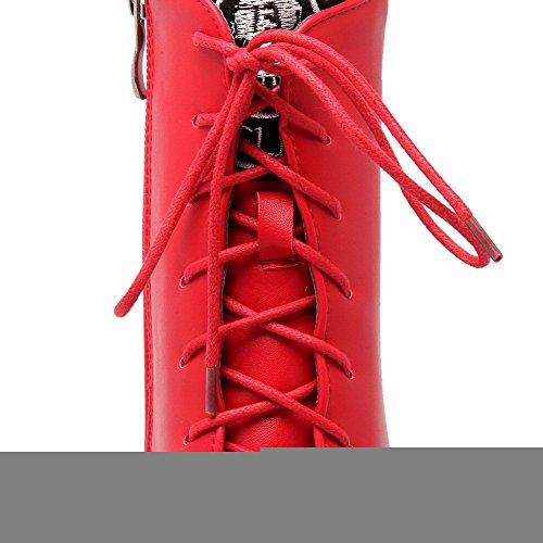 VogueZone009 Damen Hoher Absatz Niedrig-Spitze Wasserdicht Plattform Schnüren Stiefel Rot