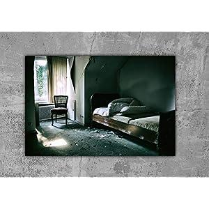 Bett lost place Leinwand Druck Fotografie 120x80cm Wanddeko Wandgestaltung Dekoration Geschenk für ihn Geschenkidee