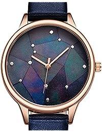 SHENGKE 9766 mujer damas elegantes reloj de cuarzo analógico impermeable pulsera con correa de cuero genuino