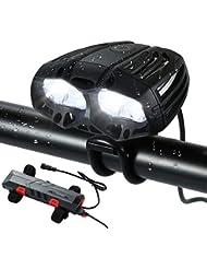 Nabowei Luz de Bici, Super Bright LED Faro Bicicleta Carga USB 6 Horas de Trabajo Impermeable 4 Led 4 Modos con Luz de Bicicleta Batería Negra- Control Remoto