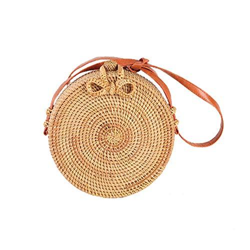 HWUDFSLG Borsa In Tessuto Da Donna Tondo Popolare Bohemia Vintage Rattan Borse In Paglia Handmade Vietnam Circle Femminile Tracolla Crossbody