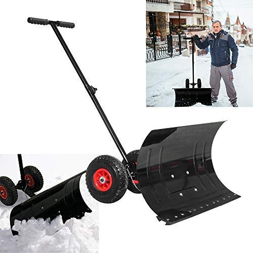 Froadp Pala da neve su ruote, angolo di pala regolabile in altezza, pala da neve, pala da neve, pala in plastica di 74 cm di larghezza.