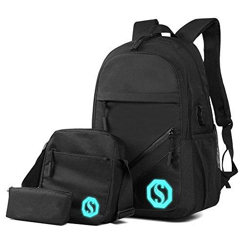 Jungen Schulrucksack Schulranzen Fluoreszierender Schulrucksäcke School bag for boys Laptop Rucksack + USB Kabel+ Umhängetasche + Geldbeutel/Mäppchen 3tlg. Set (Schwarz)